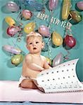 1960s NEW YEAR BABY TURNING CALENDAR PAGE