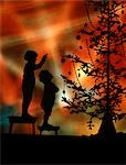1920s 1930s SILHOUETTE OF 2 CHILDREN ON STOOLS LOOK TO POINTING AT CHRISTMAS TREE COLORFUL LIGHTS BACKGROUND