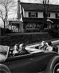1930s RETRO COUPLES CONVERTIBLE CAR RIDE GENERATIONS DOUBLE DATE