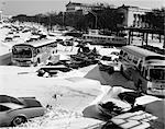 1960s OVERHEAD OF CARS AND BUSES STUCK IN DEEP SNOW PHILADELPHIA PENNSYLVANIA USA    Stock Photo - Premium Rights-Managed, Artist: ClassicStock, Code: 846-02795624
