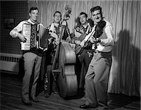 1950s FOUR-PIECE BAND WITH ACCORDION STAND-UP BASS GUITAR & FIDDLE    Stock Photo - Premium Rights-Managednull, Code: 846-02795648