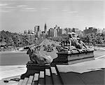1940s VIEW OF PHILADELPHIA SKYLINE & STREET TRAFFIC FROM ART MUSEUM