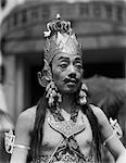 1920s 1930s MAN MALE JAVANESE DANCER IN COSTUME PORTRAIT CROWN EARRINGS MAKEUP FAKE MOUSTACHE EYEBROWS JAVA INDONESIA
