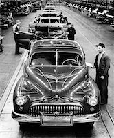 1950s BUICK AUTOMOBILE ASSEMBLY LINE DETROIT MICHIGAN HEAD-ON VIEW    Stock Photo - Premium Rights-Managednull, Code: 846-02796476