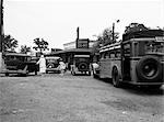 1930s ROADSIDE DINER RESTAURANT BUS STOP WOMAN GIRL IN PARKING LOT CARS CHICKEN 40 CENTS CROTON NEW YORK JULY 5 1937