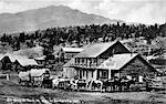 1880s 1881 BILL BOSE OX TEAM ON WAY TO BARKERVILLE COVERED WAGON CLINTON FRONTIER HOTEL FROM OLD POSTCARD CANADA