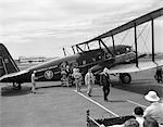 1930s NEWARK NJ AIRPORT AMERICAN AIRLINES CONDOR PLANE WITH DISEMBARKING PASSENGERS
