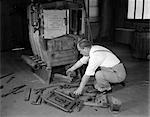 MAN CONSTRUCTING HEATER STOVE OVEN