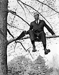 1960s MAN IN TREE BRANCH LIMB    Stock Photo - Premium Rights-Managed, Artist: ClassicStock, Code: 846-02796961