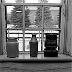 STILL LIFE OF MILK PAIL POTTERY BOTTLE & SMALL HEATER FROM EARLIER TIMES
