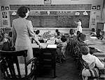 1950s GIRL AT FRONT OF CLASSROOM USING POINTER TO READ THROUGH SCHOOL NEWS ON CHALKBOARD WITH TEACHER STANDING AT DESK