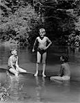 1940s THREE BOYS OUTDOOR IN SWIMMING HOLE
