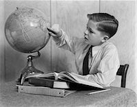 1940s YOUNG BOY STUDYING WITH BOOKS AND WORLD GLOBE    Stock Photo - Premium Rights-Managednull, Code: 846-02797525