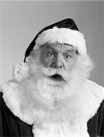 SANTA CLAUS PORTRAIT SURPRISED FACIAL EXPRESSION WHITE BEARD MOUSTACHE FUR TRIMMED SUIT HAT ST. NICK NICHOLAS FATHER CHRISTMAS    Stock Photo - Premium Rights-Managednull, Code: 846-02797907