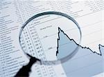 Magnifying glass and descending line graph and list of share prices Stock Photo - Premium Royalty-Free, Artist: Ikon Images, Code: 635-02800427