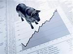 Bull figurine on ascending line graph and list of share prices Stock Photo - Premium Royalty-Free, Artist: Ikon Images, Code: 635-02800483