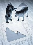 Bull and bear figurines on descending line graph and list of share prices Stock Photo - Premium Royalty-Free, Artist: Ikon Images, Code: 635-02800484