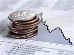 Stack of quarters on descending line graph Stock Photo - Premium Royalty-Free, Artist: Ikon Images, Code: 635-02800487