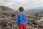 Young boy looking out at cleared landscape of fallen trees Stock Photo - Premium Royalty-Freenull, Code: 673-02801431