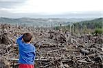 Young boy looking out at cleared landscape of fallen trees Stock Photo - Premium Royalty-Freenull, Code: 673-02801434