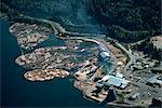 Aerial view of logs in the river beside a saw mill in British Columbia, Canada, North America    Stock Photo - Premium Rights-Managed, Artist: Robert Harding Images, Code: 841-02824676
