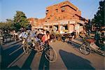 Market area with rickshaws, Jaipur, Rajasthan State, India
