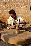 Potter and wheel in village near Jodhpur, Rajasthan state, India, Asia    Stock Photo - Premium Rights-Managed, Artist: Robert Harding Images, Code: 841-02826307