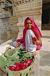 Woman selling flowers outside the Jain Temple of Chaumukha, Rajasthan, India    Stock Photo - Premium Rights-Managed, Artist: Robert Harding Images, Code: 841-02826325