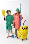 Girls Dressed Up as Janitors