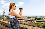 Woman Shooting Video, Siena, Siena Province, Tuscany, Italy