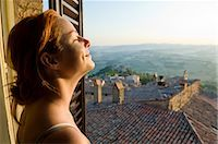 Woman at Window, Todi, Province of Perugia, Umbria, Italy Stock Photo - Premium Royalty-Freenull, Code: 600-02828601