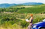 Lost Woman Reading Road Map, Chianti, Tuscany, Italy Stock Photo - Premium Rights-Managed, Artist: Chris Hendrickson, Code: 700-02828621