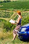 Lost Woman Reading Road Map, Chianti, Tuscany, Italy    Stock Photo - Premium Rights-Managed, Artist: Chris Hendrickson, Code: 700-02828622