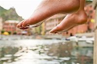 Woman Dipping Her Feet in Water, Near Beach in Vernazza, Liguria, Italy Stock Photo - Premium Rights-Managednull, Code: 700-02828630