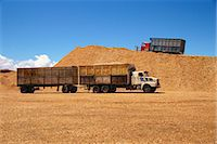 Trucks and trailers at the wood chip stocks at the port awaiting export at Puerto Montt in the Lake District of Chile, South America    Stock Photo - Premium Rights-Managednull, Code: 841-02831615