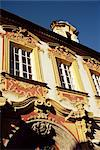 Ornate scrollwork over building housing art gallery, Litomerice, North Bohemia, Czech Republic, Europe    Stock Photo - Premium Rights-Managed, Artist: Robert Harding Images, Code: 841-02831940