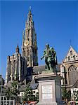 Statue of Rubens and the cathedral on the Groen Plaats in Antwerp, Belgium, Europe    Stock Photo - Premium Rights-Managed, Artist: Robert Harding Images, Code: 841-02832478