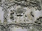 Detail showing Garden of Eden on 14th century marble relief by Lorenzo Maitani and pupiles, beside entrance to cathedral, Orvieto, Umbria, Italy, Europe    Stock Photo - Premium Rights-Managed, Artist: Robert Harding Images, Code: 841-02832567