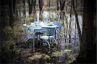 setting kitchen table - Vintage Kitchen Table and Chairs With Place Settings in the Middle of a Swamp Stock Photo - Premium Rights-Managednull, Code: 700-02833224
