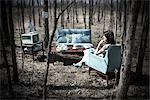 Woman Sitting in Vintage Living Room Furniture in a Forest Stock Photo - Premium Rights-Managed, Artist: Angus Fergusson, Code: 700-02833227