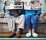 Elderly Couple Sitting Side by Side Reading Newspapers Stock Photo - Premium Rights-Managed, Artist: Andrew Kolb, Code: 700-02833277