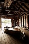 Wooden Boat in Boathouse, Ontario, Canada Stock Photo - Premium Rights-Managed, Artist: Derek Shapton, Code: 700-02833545