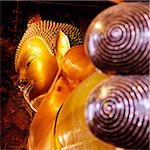 Thailand, Bangkok, Wat Po, reclining Buddha statue (view from feet)