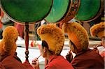 China, Szechuan (Sichuan), Kham region, Monks playing drums at Temple Puja. Stock Photo - Premium Rights-Managed, Artist: Asia Images, Code: 849-02866342