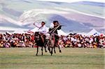 China, Szechuan (Sichuan), Kham region, Khampa horsemen show off their skills at the summer nomad festival. Stock Photo - Premium Rights-Managed, Artist: Asia Images, Code: 849-02866369