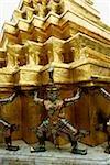 Thailand, Bangkok, Wat Phra Kaew, Statues at temple.