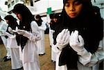 Indonesia, Jakarta, Muslim students offering prayers and ask for blessings on their country. Stock Photo - Premium Rights-Managed, Artist: Asia Images, Code: 849-02866747