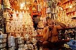 Myanmar (Burma), Yangon (Rangoon), Monk tending shop at the Shwedagon Pagoda. Stock Photo - Premium Rights-Managed, Artist: Asia Images, Code: 849-02866911