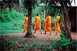Vietnam, Mekong Delta region, Bac Lieu, Buddhist monks walking on street in search of alms. Stock Photo - Premium Rights-Managed, Artist: Asia Images, Code: 849-02867167