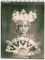 Indonesia, Bali, Amlapura, Legong dancer in full costume holding fan. Stock Photo - Premium Rights-Managednull, Code: 849-02867601